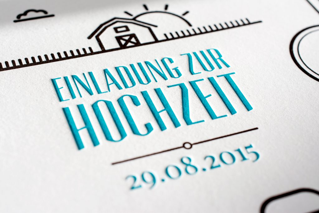 Detail Letterpress Wedding Invitation with deep impression. Paper: double (2 x 325gsm) Metapaper Multiloft extrarough