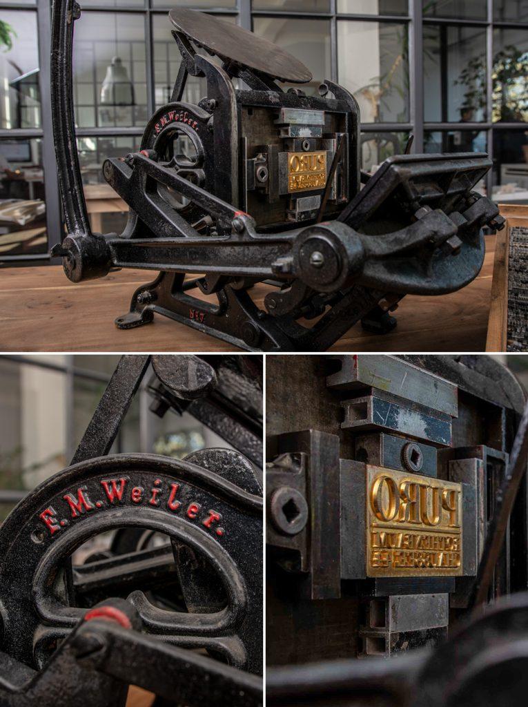 Unsere historische Tiegelpresse, Baujahr ca. 1880, F.M. Weiler New York
